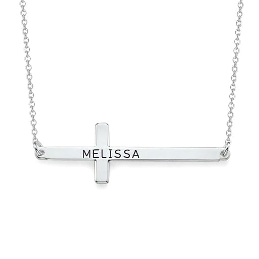 "Copper/925 Sterling Silver Personalized Simple Cross Name Necklace- Adjustable 16""-20"""