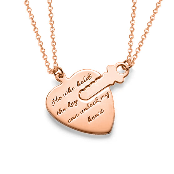 "Key To Heart Copper/925 Sterling Silver Personalized  Engravable Necklace-Adjustable 16""-20"""