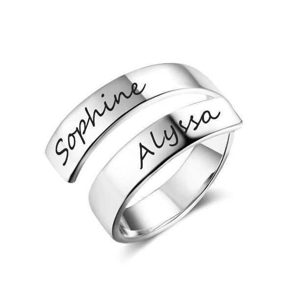 Copper/925 Sterling Silver Personalized Spiral Twist Engraved Names Ring