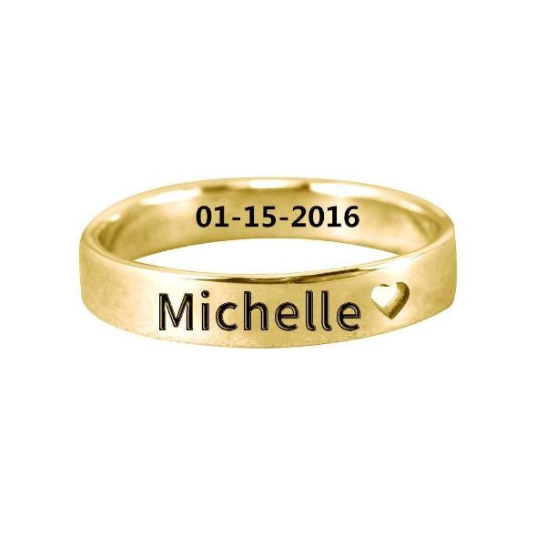 Copper/925 Sterling Silver Personalized Cut Out Heart Name Ring