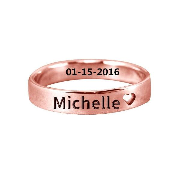 925 Sterling Silver Personalized Cut Out Heart Name Ring