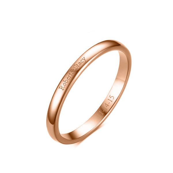 Copper/925 Sterling Silver Personalized Thin Band  Engraved Ring