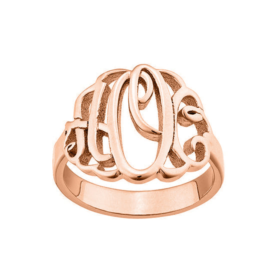 Copper/925 Sterling Silver Personalized Script Style Thick Monogram Ring