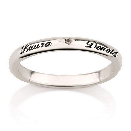 925 Sterling Silver Personalized Birthstone Engraved Name Ring