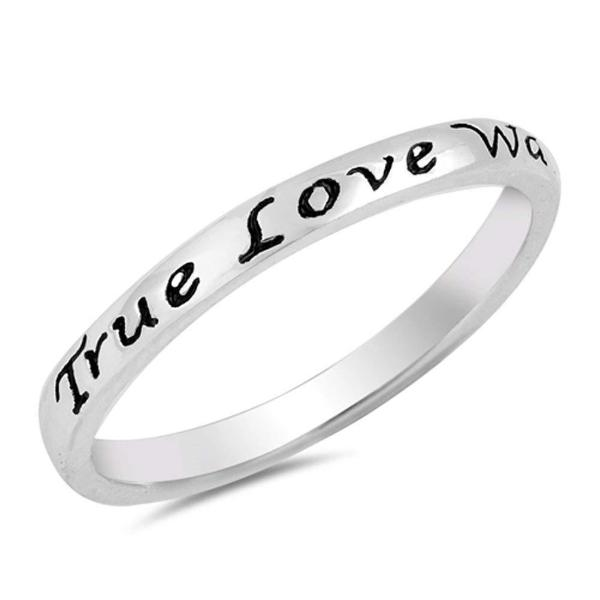 925 Sterling Silver Personalized Engraved Heart Script Ring