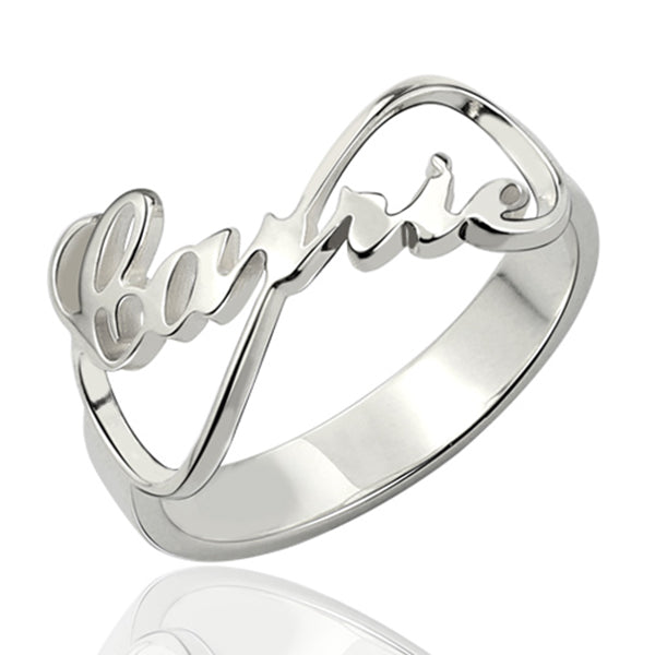 925 Sterling Silver Personalized Infinity Nameplate Ring