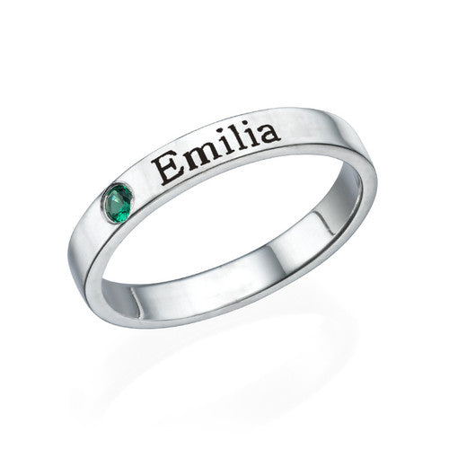 925 Sterling Silver Personalized Birthstone Engraved Ring