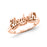 Copper/925 Sterling Silver Personalized Script Letters Name Ring with Heart