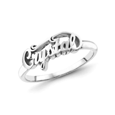 """Crystal""-Copper/925 Sterling Silver Personalized Script Letters Name Ring"
