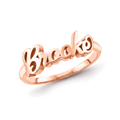 Copper/925 Sterling Silver Personalized Script Letters Name Ring
