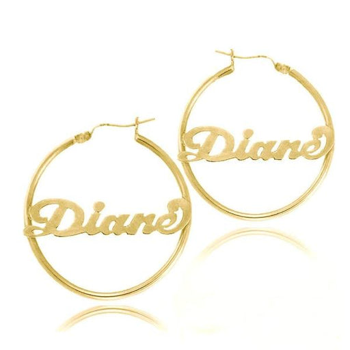 10K/14K Gold Personalized Hoop Name Earrings Made with Any Name
