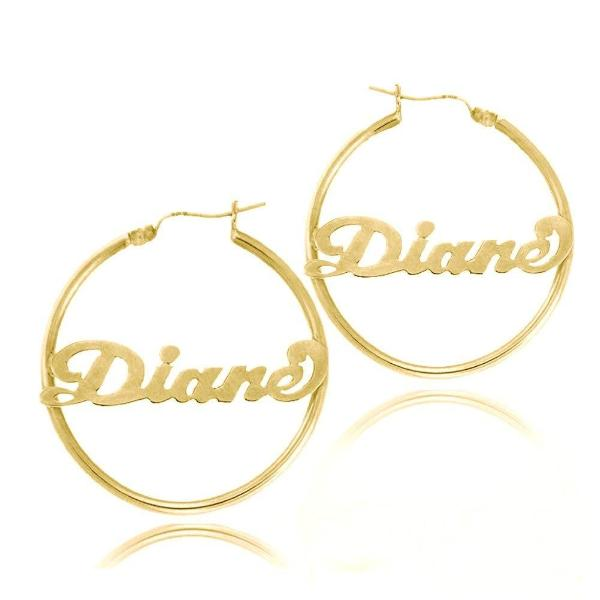 10k 14k Gold Personalized Hoop Name Earrings Made With Any Name