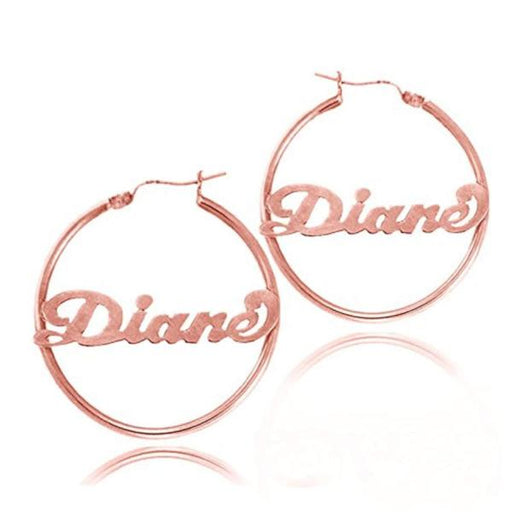 925 Sterling Silver Personalized Hoop Name Earrings Made with Any Name
