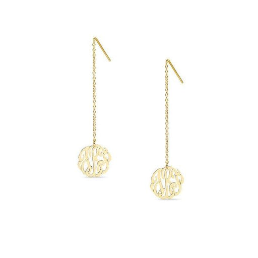 10K/14K Gold Personalized Monogram Threader Earrings