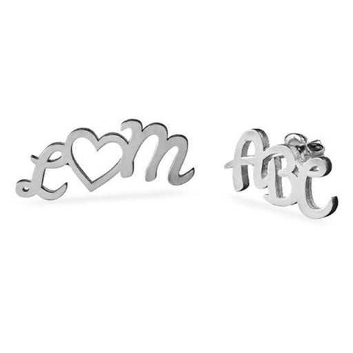 925 Sterling Silver Personalized ABC Ear Studs