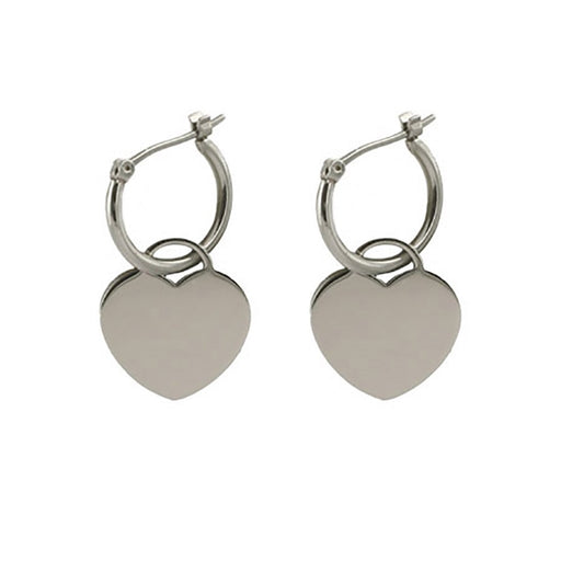 925 Sterling Silver Personalized Engravable Heart Tag Earrings