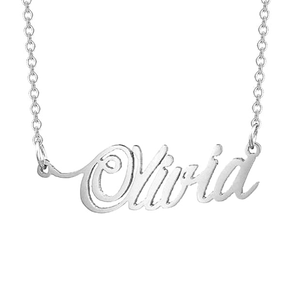 """Olivia""-Copper/925 Sterling Silver Personalized Name Necklace Adjustable Chain 16""-20"""