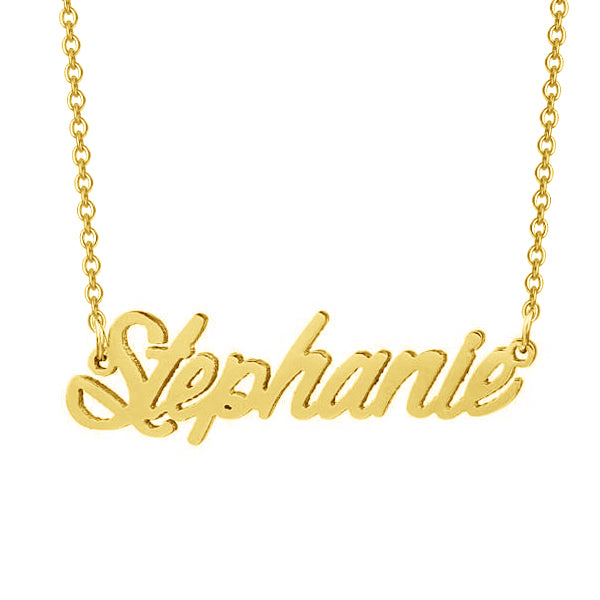 """Stephanie""-Copper/925 Sterling Silver Personalized Classic Name Necklace Adjustable 16""-20"""
