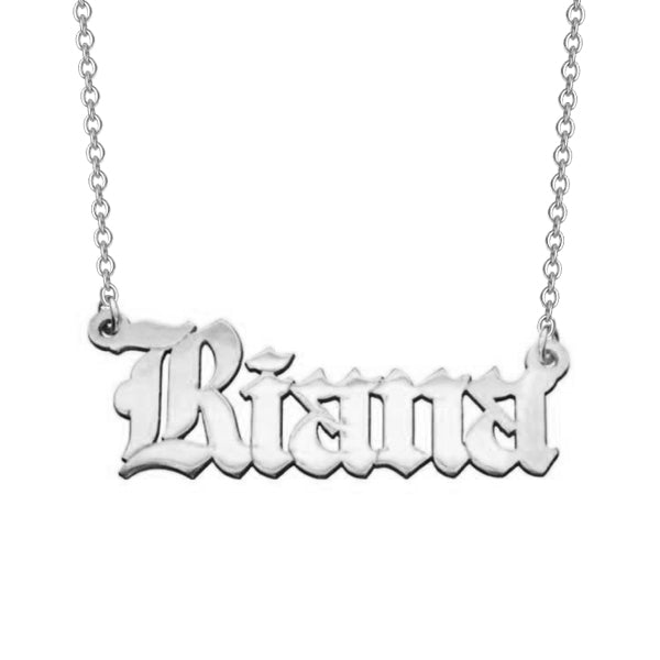"Riana - 925 Sterling Silver Personalized Old English Font Name Necklace Adjustable 16""-20"""