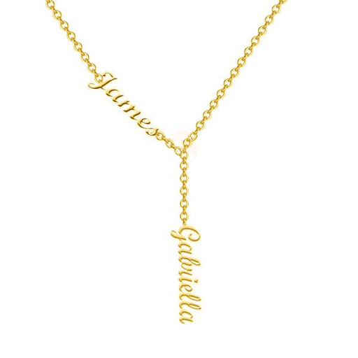 "James Gabriella - 925 Sterling Silver Personalized Double Names Name Necklace Adjustable 16""-20"""