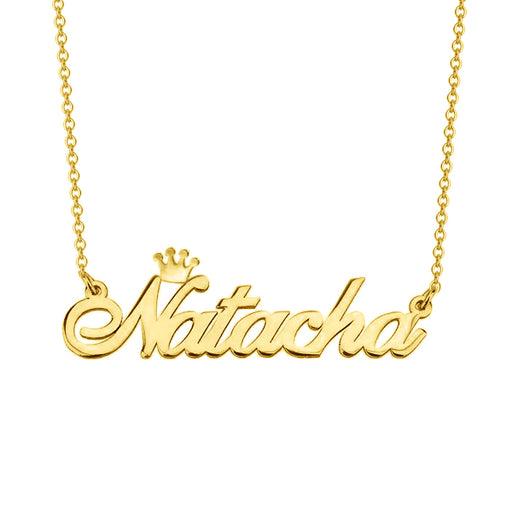 "Natacha - 925 Sterling Silver/10K/14K/18K Personalized Name Necklace with Crown Adjustable 16""-20"""