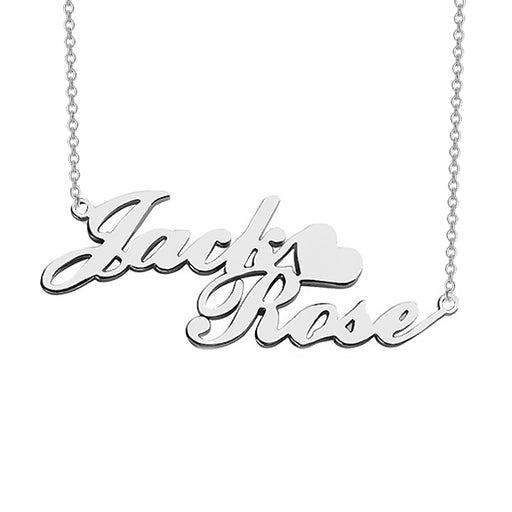 "Jack❤Rose - 925 Sterling Silver/10K/14K/18K Personalized Double Name Necklace with Heart Adjustable 16""-20"""