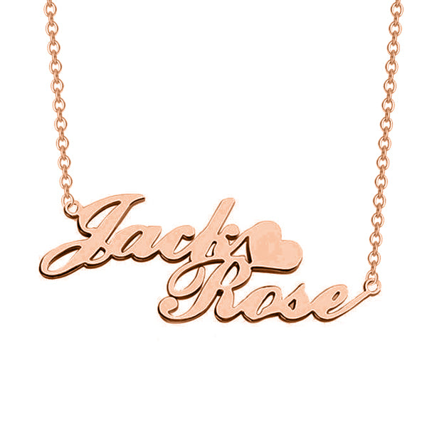 "Copper/925 Sterling Silver/10K/14K/18K Personalized Double Name Necklace with Heart Adjustable 16""-20"""