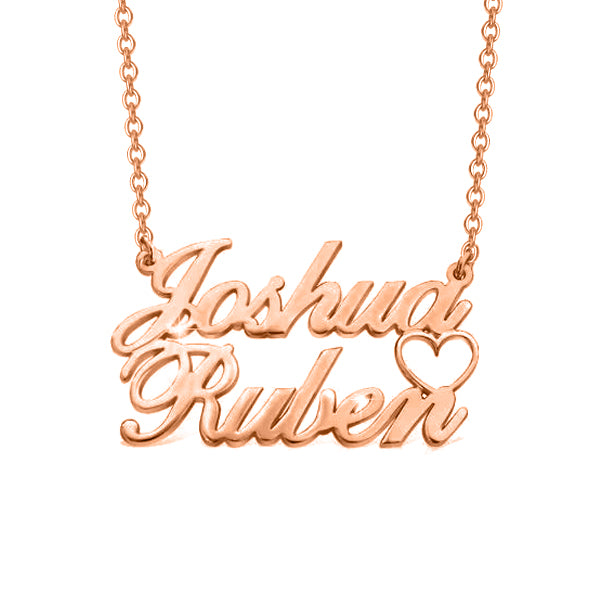 "Joshua❤Ruben - Copper/925 Sterling Silver/10K/14K/18K Personalized Double Names Necklace with A Cut Out Heart Adjustable 16""-20"""