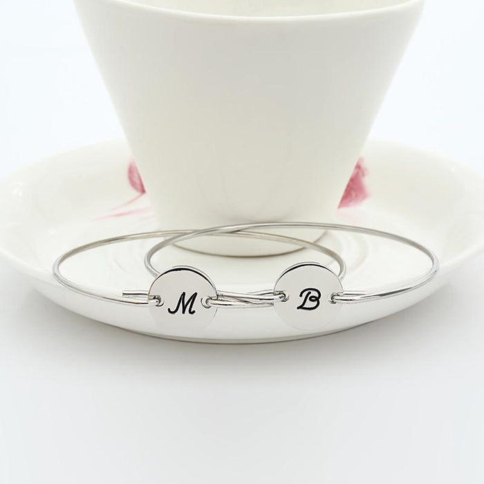 925 Sterling Silver Personalized Single Initital Bangle From A to Z