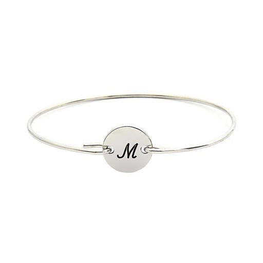 Personalized Single Initital Bangle From A to Z in 925 Sterling Silver