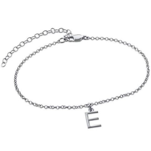 "Copper/925 Sterling Silver Personalized Uppercase Classic Anklet Length Adjustable 8.5""-10"""