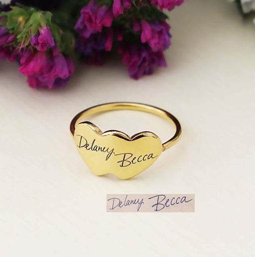Copper/925 Sterling Silver Personalized Handwriting Double Heart Engraved Ring