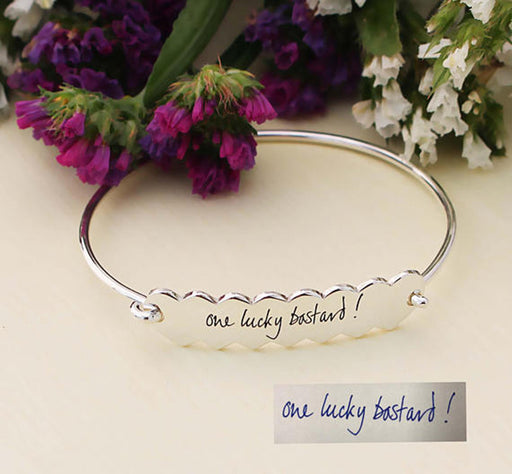 925 Sterling Silver Signature Personalized Engraving Eternity Heart Bangle