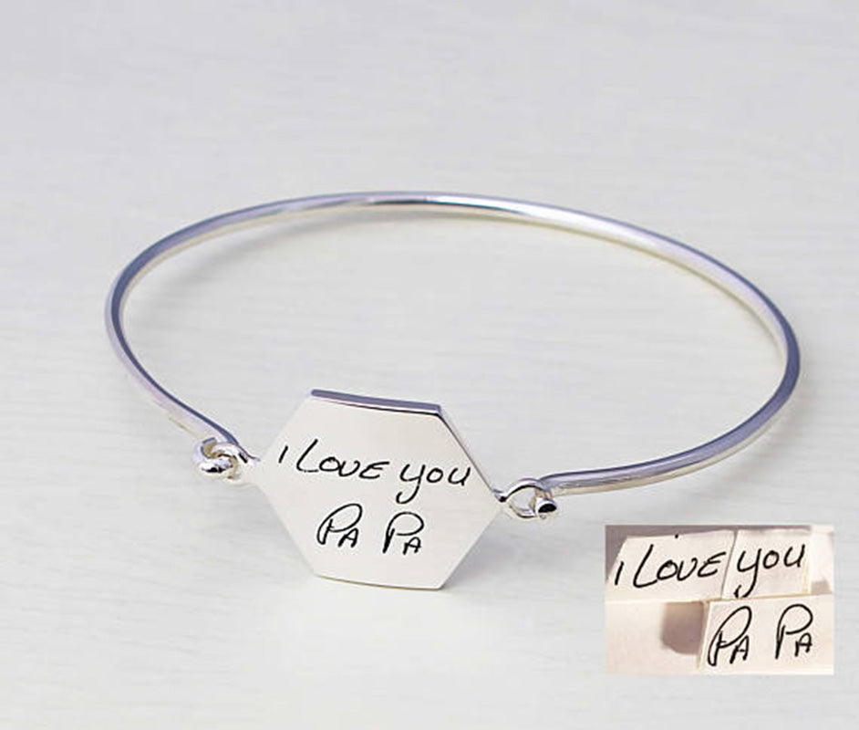 925 Sterling Silver Personalized Signature Hexagon Bangle