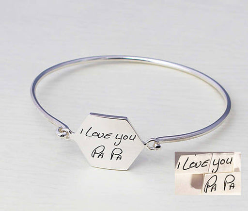 Personalized 925 Sterling Silver Signature Hexagon Bangle