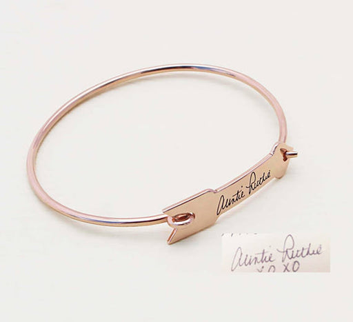 925 Sterling Silver Personalized Signature/Handwriting Arrow Bangle