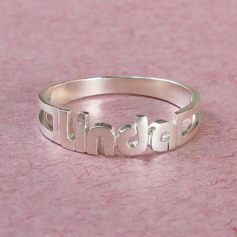 """Linda"" Style-Sterling Silver Personalized  Name Ring-White Gold /Yellow Gold Plated"