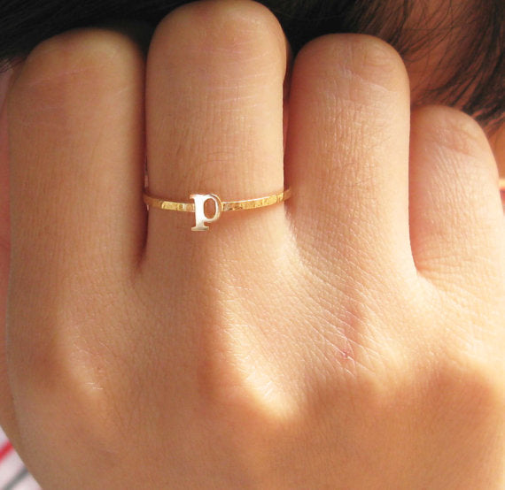Sterling Silver Personalized  Stacking Name Ring