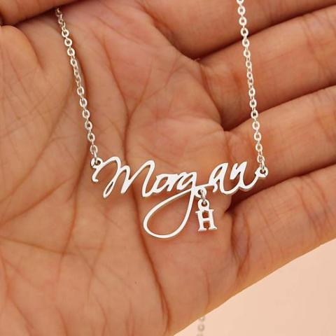 "Morgan - Copper/925 Sterling Silver Adjustable 16""-20"" Personalized Handcrafted Name Necklace-White Gold/Yellow Gold Plated"