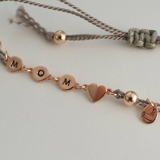 925 Sterling Silver Personalized Tiny Heart Adjustable Bracelet