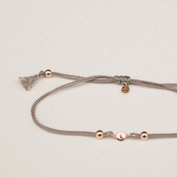 925 Sterling Silver Personalized Initial Disc Adjustable Bracelet