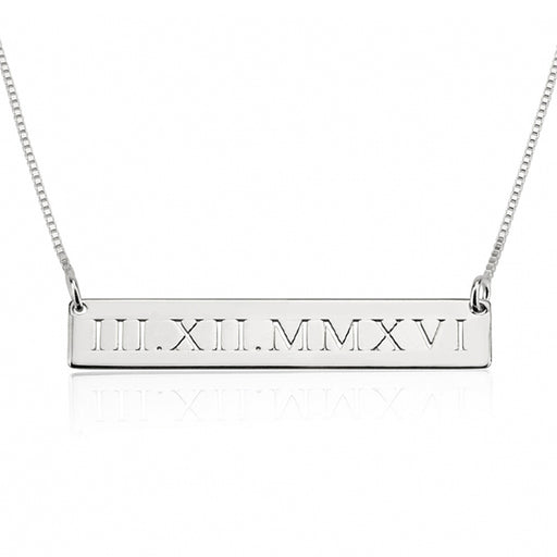 "925 Sterling Silver Personalized Engraved Bar Necklace With Heart- Adjustable 16""-20"""