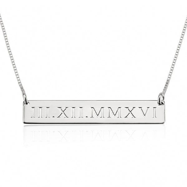 "Copper/925 Sterling Silver Personalized Engraved Bar Necklace With Heart- Adjustable 16""-20"""