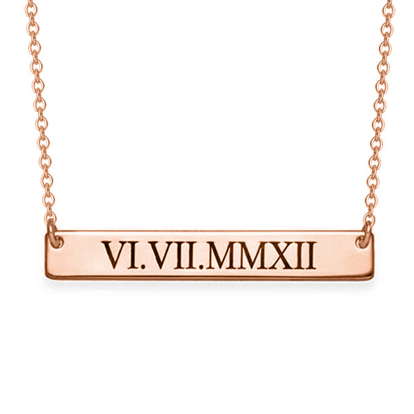"Copper/925 Sterling Silver Personalized Number Bar Necklace  Adjustable 16""-20"""