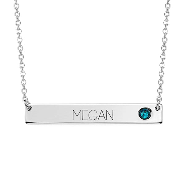 "Copper/925 Sterling Silver Personalized Bar Necklace with Birthstone Adjustable 16""-20"""