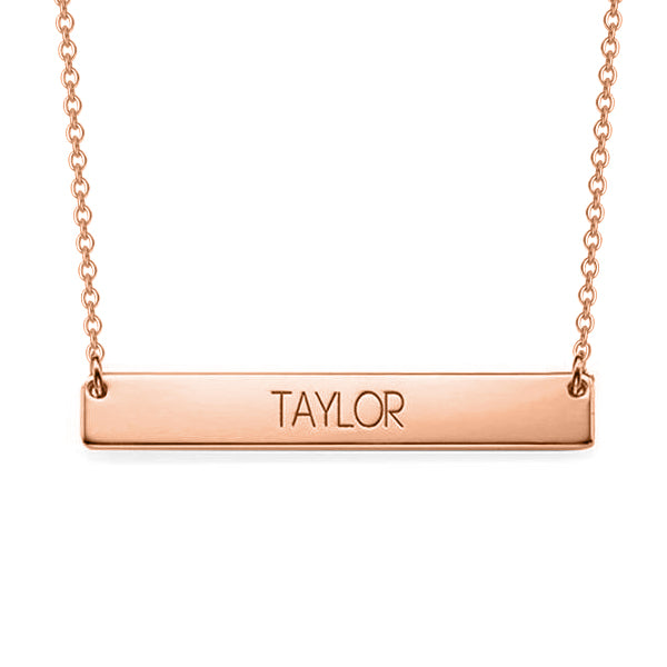"Copper/925 Sterling Silver Personalized Bar Engraved Necklace Adjustable 16""-20"""