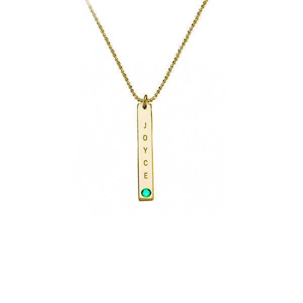 "Copper/925 Sterling Silver Personalized Vertical Sterling Silver Bar Necklace with Birthstone Adjustable 16""-20"""
