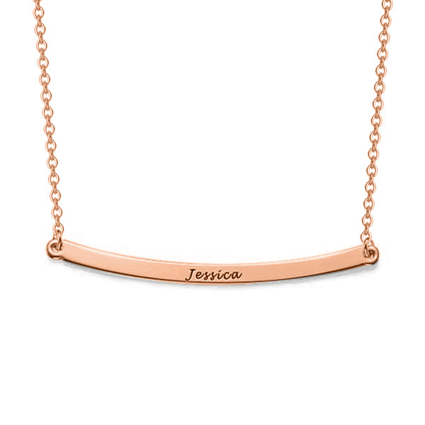 "Copper/925 Sterling Silver Personalized Curved Bar Necklace Adjustable 16""-20"""