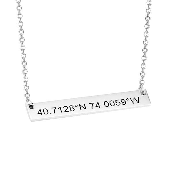 "Copper/925 Sterling Silver Personalized Coordinates Bar Necklace Adjustable 16""-20"""