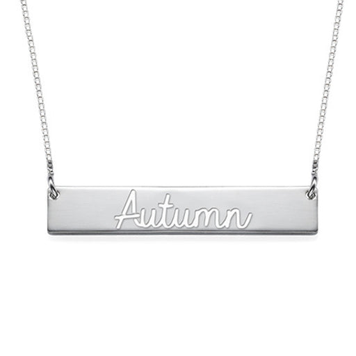 "925 Sterling Silver Personalized Cut Out Name Bar Necklace Adjustable 16""-20"""